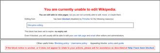 Block (Internet) - A notice informing a user of their block on the English Wikipedia.