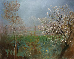Blossoming tree - painting by László Mednyánszky