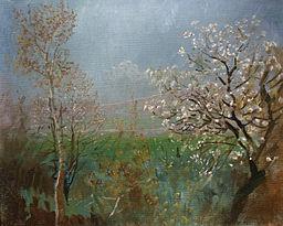 Blossoming tree - painting by László Mednyánszky