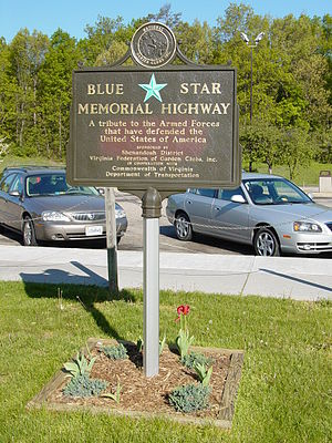 Blue Star Memorial Highway - Blue Star Memorial Highway marker on Interstate 81 northbound near New Market, Virginia