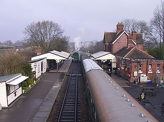 Sheffield Park railway station - A view of the station from the bridge before the new carriage shed was built
