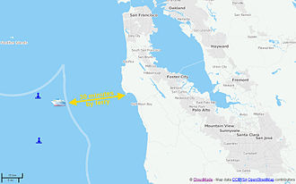 Blueseed - A map of Blueseed's planned sea platform (and two buoys for positioning) in relation to the California coast. Also shown on the map are Half Moon Bay (the closest port) and the Silicon Valley area ranging from San Francisco in the north to San Jose in the south. The thick white line is the boundary of the official territorial waters of the United States. The cusp is due to the presence of the Farallon Islands, over which the US exercises territorial control, located in the north-west part of the map.