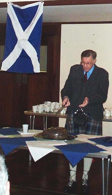 Addressing the haggis during Burns supper:Fair fa' your honest, sonsie face,  Great chieftain o' the puddin-race!