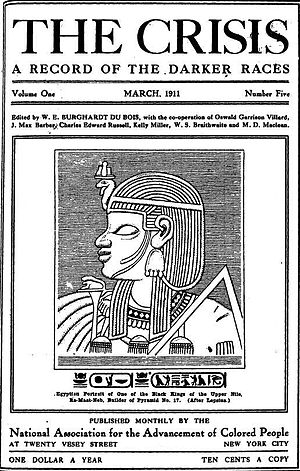 "Afrocentrism - A 1911 copy of the NAACP journal The Crisis depicting ""Ra-Maat-Neb, one of the kings of the Upper Nile"", a copy of the relief portraying Nebmaatre I on Meroe pyramid 17."