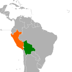 Map indicating locations of Bolivia and Peru