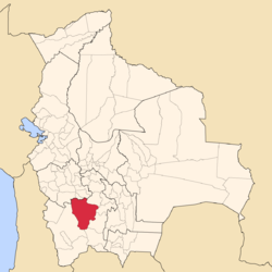 Location of the Antonio Quijarro Province within Bolivia