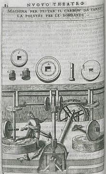 Macina per pestare il carbone per fabbricare una bomba del XVII secolo