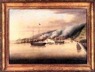 USS Columbia (1836) - Image: Bombardment of Muckie