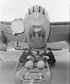 Bombing up Mosquito RAF Hunsdon 1944 IWM CH 12407