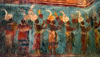A photograph of one of the paintings at Bonampak
