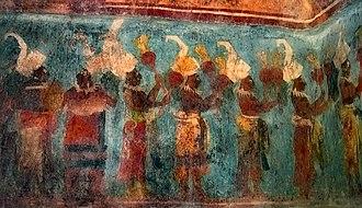 Maya music - Bonampak temple room 1, file of musicians: portable turtle drum, standing drum, and maracas