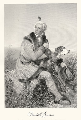 This engraving by Alonzo Chappel (circa 1861) depicts an elderly Boone hunting in Missouri. Boone by Chappel.jpg