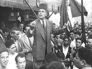 Habib Bourguiba giving a speech in the city of...