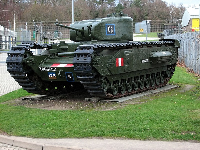 Churchill Mk.I with a 3 in/76.2 mm howitzer preserved on static display