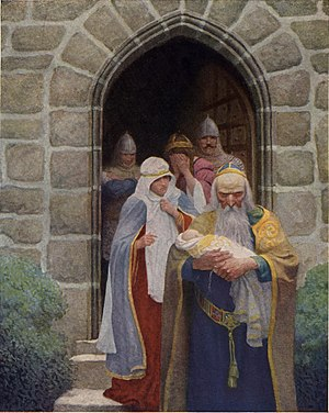 "Igraine - Merlin taking away the infant Arthur from Igraine. An illustration by N. C. Wyeth for The Boy's King Arthur (1922): ""So the child was delivered unto Merlin, and so he bare it forth."""