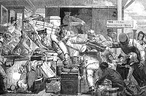 Break of gauge - A cartoon depicting the horrors of goods transfer at the break of gauge at Gloucester in 1843