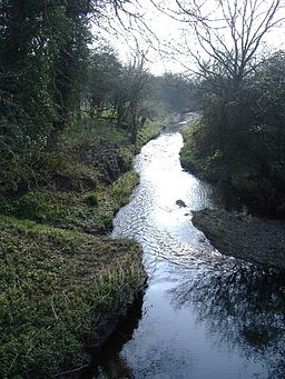A steam flowing away for the camera, wooded banks on either side, bright sky in the upper portion of the picture