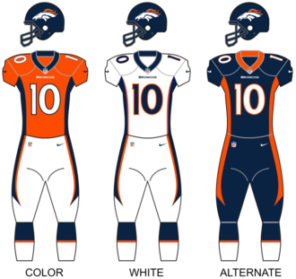 2013 Denver Broncos season - Image: Broncos uniforms