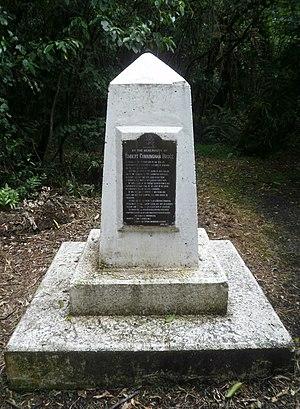 Robert Bruce (New Zealand politician) - Bruce Park Memorial in Bruce Park Scenic Reserve