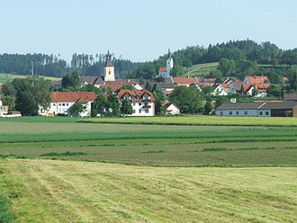 Bruckberg, Lower Bavaria - View on Bruckberg with the churches St. Jakobus (left) and St. Paul (right)