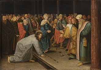 Christ and the Woman Taken in Adultery (Bruegel) - Image: Brueghel II, Pieter Christ and the Woman Taken in Adultery 1600