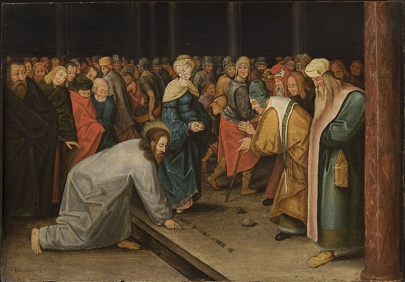 File:Brueghel II, Pieter - Christ and the Woman Taken in Adultery 1600.jpg