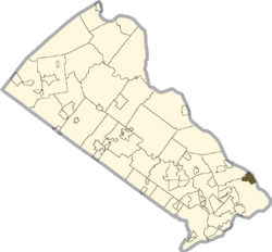 Location of Morrisville in Bucks County