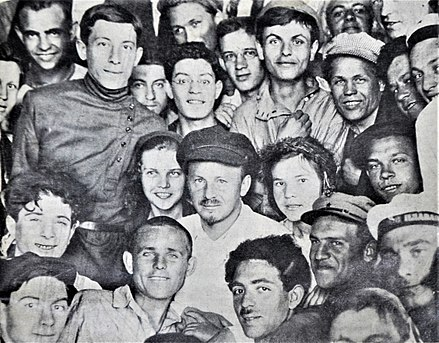 Nikolai Bukharin on the meeting of the workers and peasants news reporters in Moscow, June 1926 Bukharin with news reporters.jpg