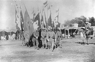Eight-Nation Alliance - German troops of the I. Eastasia Infantry Regiment with captured Boxer flags.