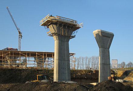 Motorway bridge under construction.