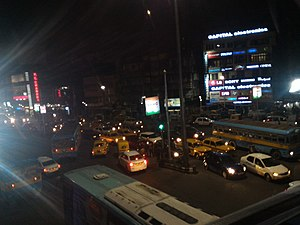 VIP Road, Kolkata - Busy VIP Road at Ultadanga at night