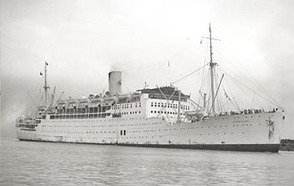 P&O Cruises - Strathaird of 1932 at Fremantle Harbour c.1950.