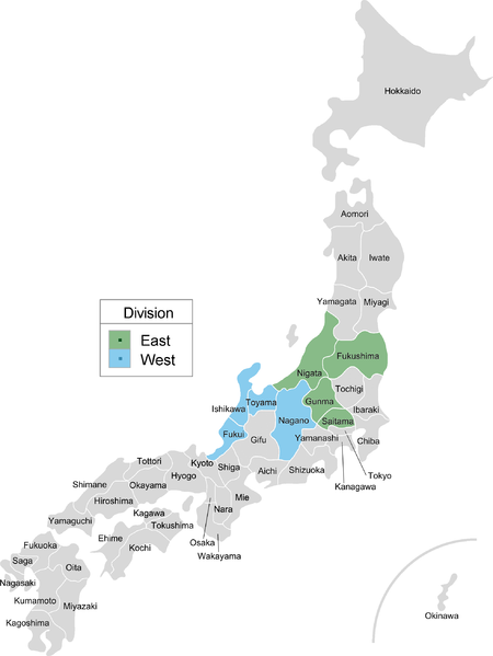 Map of Japan noting prefectures that host teams from the Baseball Challenge League (now known as Route Inn BCL)