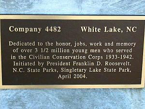 Singletary Lake State Park - The efforts of the CCC are recognized with this plaque at Singletary Lake State Park