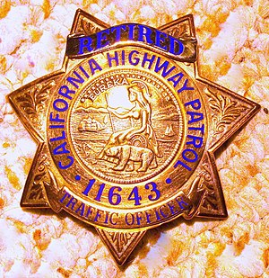 Photograph of a California Highway Patrol badge.