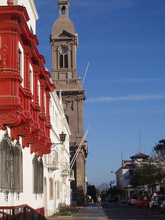 La Serena, Chile - Side view of the Courts of Justice, Archdiocese and Cathedral.