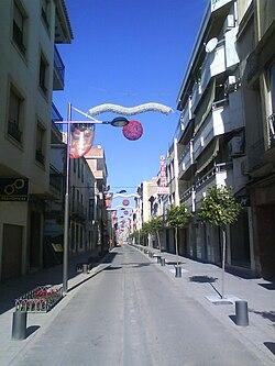 Vista general de la Calle Ancha, principal eje de Huétor-Tájar y zona comercial