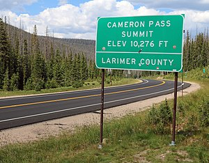 Cameron Pass (Colorado) - One of the signs at the top of the pass.