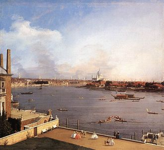 Goodwood House - The River Thames from Richmond House: Canaletto's classic veduta exhibited at Goodwood House.