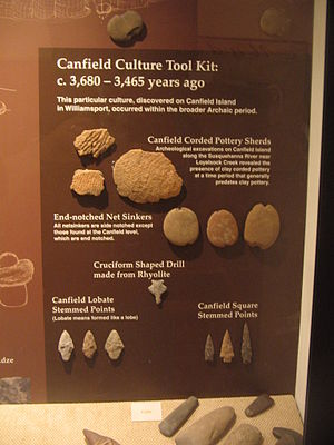Loyalsock Township, Lycoming County, Pennsylvania - Native American Stone Tools excavated from Canfield Island in the West Branch Susquehanna River. Seen from exhibit at the Lycoming County Historical Museum in Williamsport