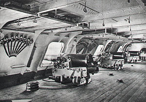 Gun port - 14cm guns in the battery of an ironclad.