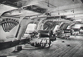 Gun port - 14cm guns in the battery of an ironclad.