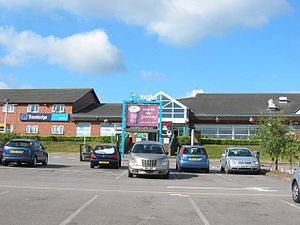Cardiff West services - The main building.