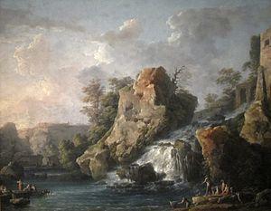 Carlo Bonavia - Carlo Bonavia's oil painting Teverone Cascade, 1787, Honolulu Museum of Art