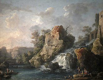 Carlo Bonavia - Carlo Bonavia's oil painting Teverone Cascade, 1787, Honolulu Museum of Art