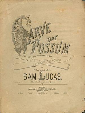 """Carve Dat Possum - Cover of """"Carve Dat Possum"""", 1875"""