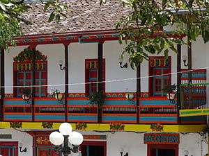 Jardín - An example of the colorful balconies typical of Jardín.