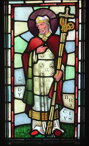 Dubricius - Stained glass depiction of Dubricius, designed by William Burges, at Castell Coch, Cardiff