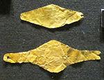 Castello di bodrum, coperture per occhi del defunto in oro, periodo ellenistico.JPG