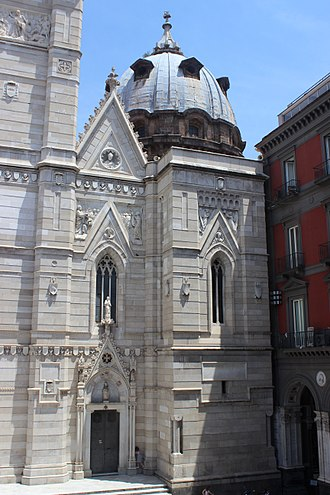 Royal Chapel of the Treasure of St. Januarius - Dome of the Treasury Chapel seen from Piazza Riario Sforza